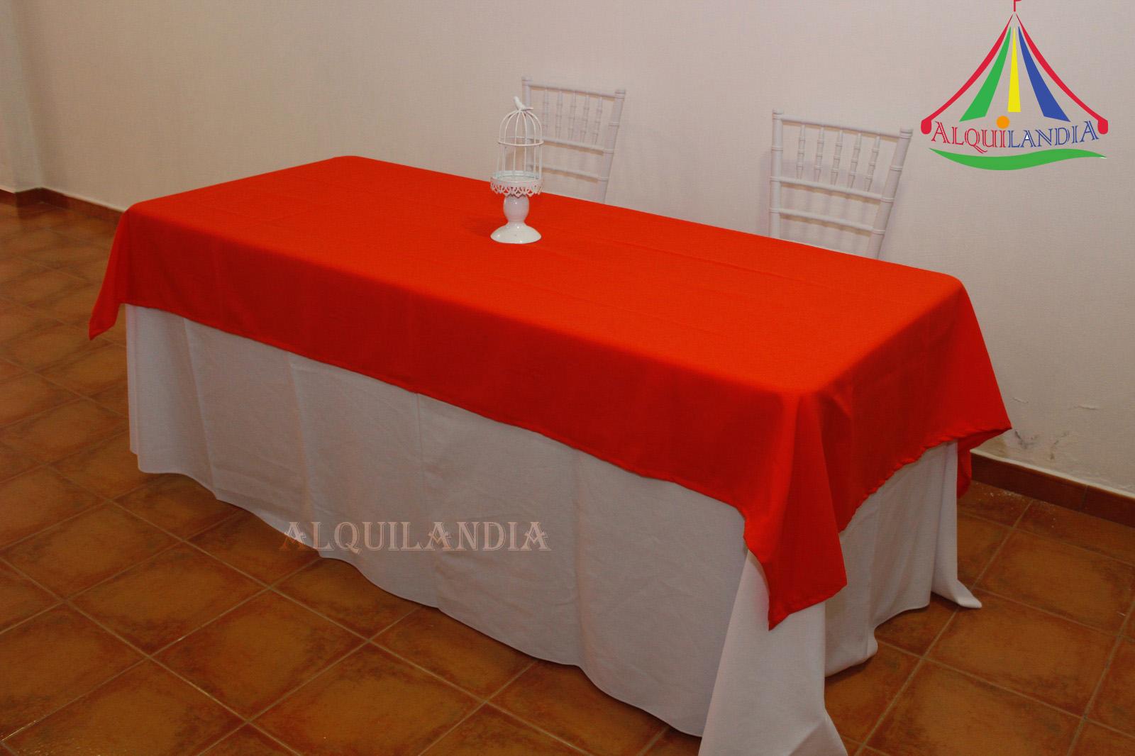 Mantel blanco y cubremantel Naranja